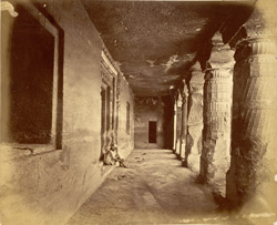 View from left end looking along interior of verandah of Buddhist Vihara, Cave I, Ajanta
